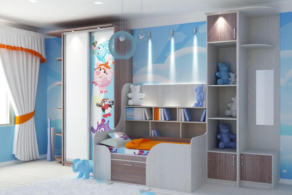 Детская комната девочки со шкафом купе оформленная в голубых цветах