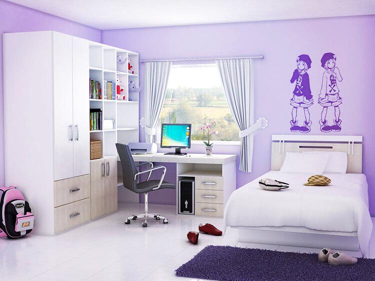 Фото шкафа в интерьере комнаты девочки подростка