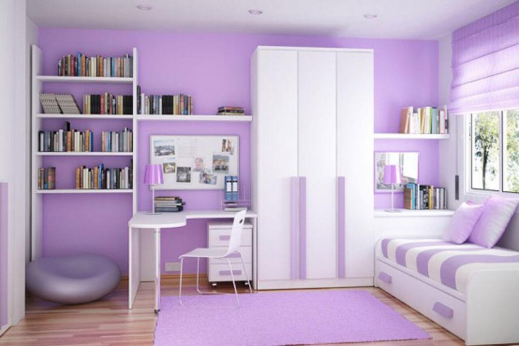 Комнат девочки в сиреневом цвете со шкафом с белым фасадом