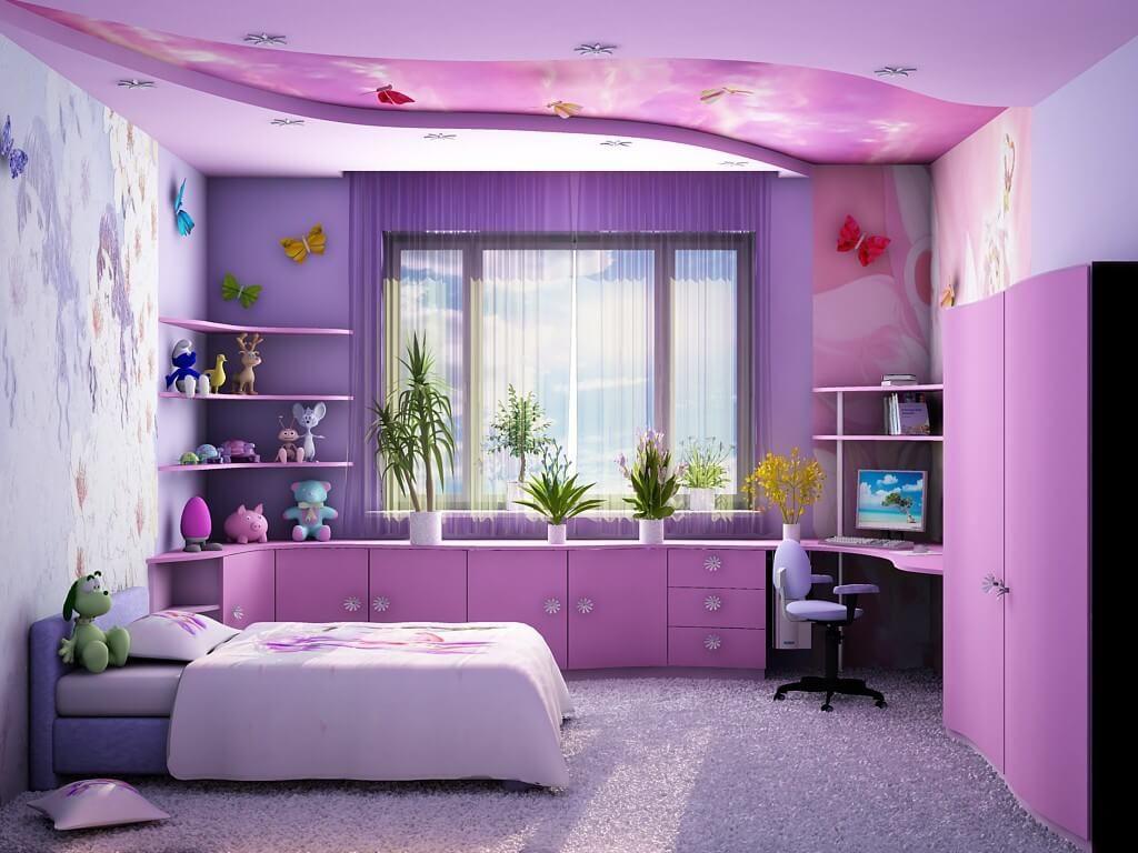 Дизайн комнаты девочки в сиреневом цвете