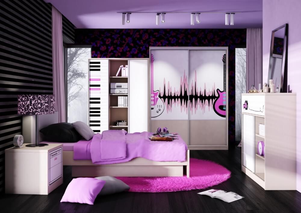 Стильная комната девочки подростка со шкафом купе в интерьере