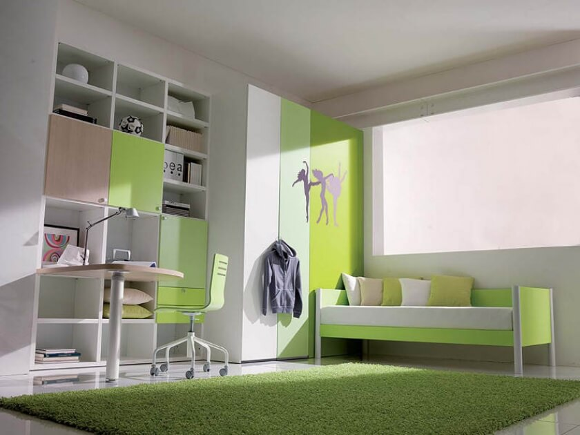 Зеленый интерьер комнаты девочки