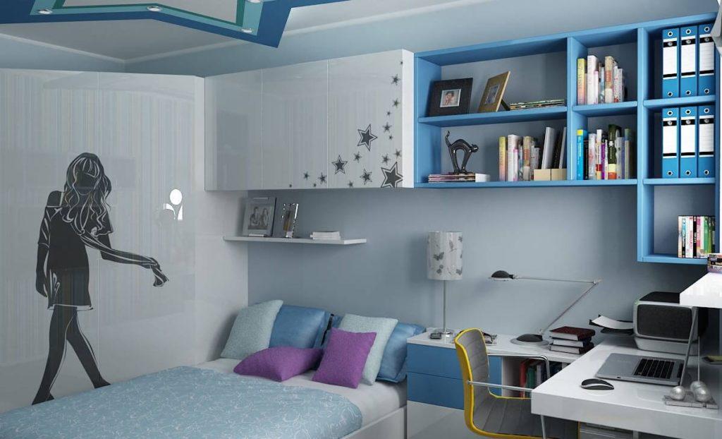 Интерьер комнаты девушки в голубом цвете с глянцевым шкафом в интерьере