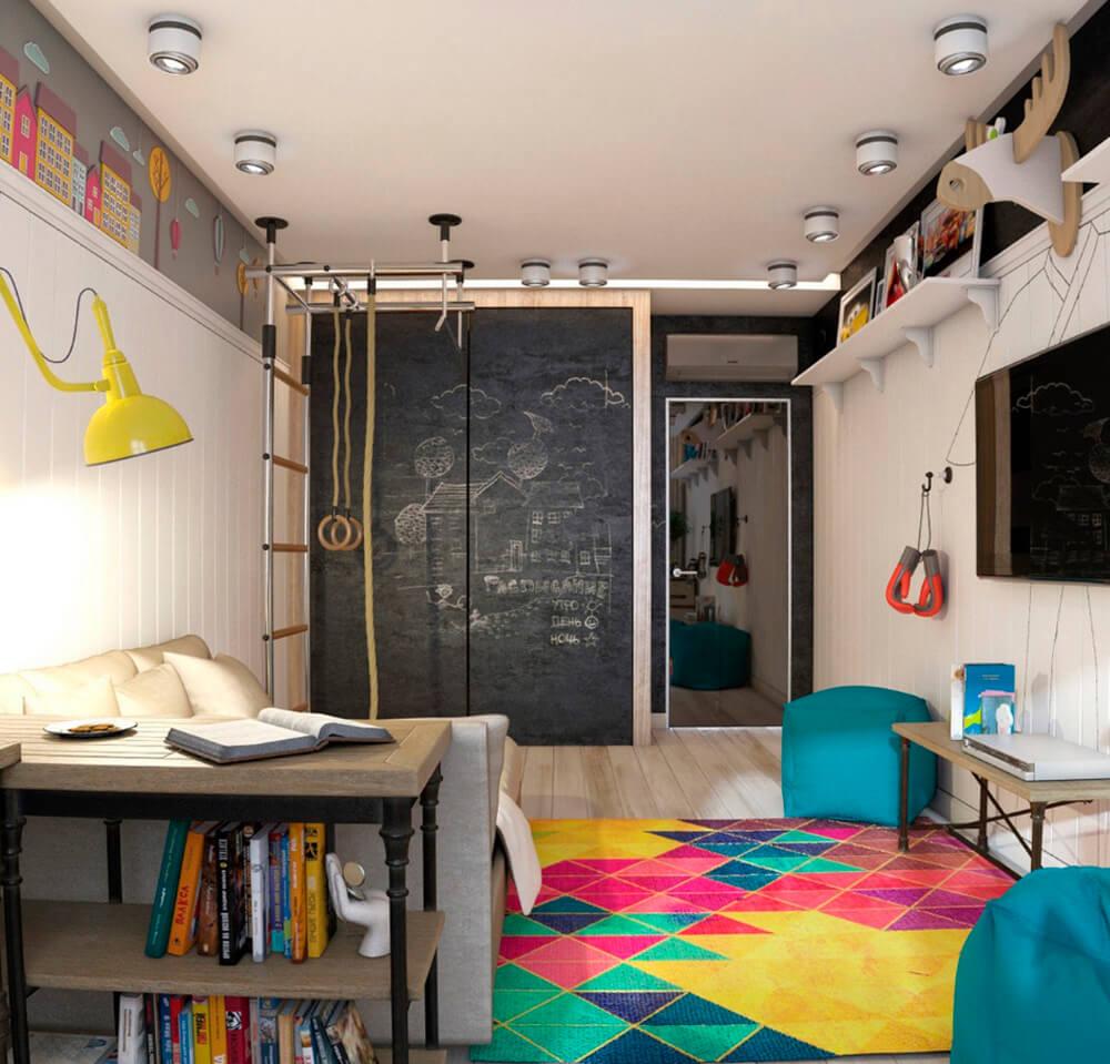 Шкаф купе в интерьере детской с покрытием для рисования мелом