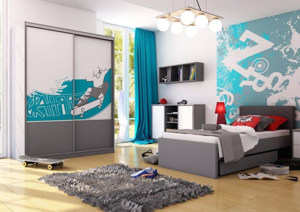 Комната мальчика подростка со шкафом купе и односпальной кроватью