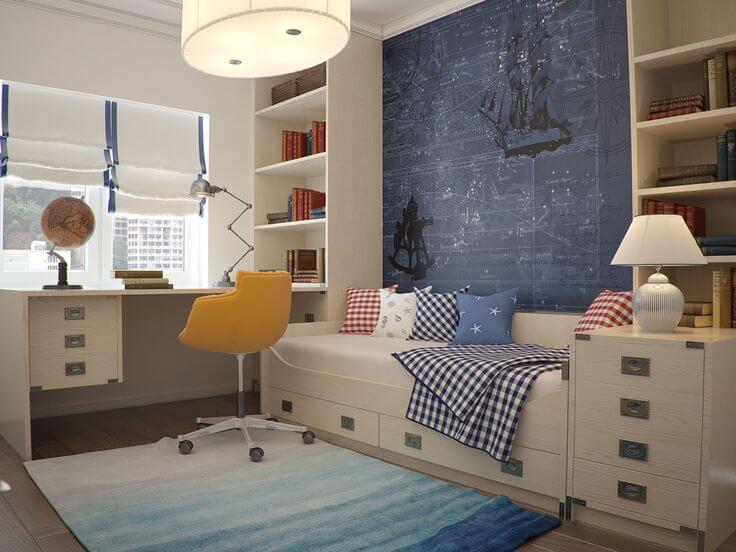 Детская комната с книжными шкафами в интерьере