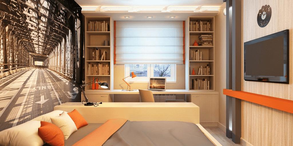Комната подростка с двуспальной кроватью и книжными шкафами пеналами по бокам от стола