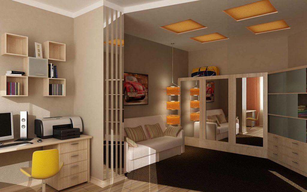 Фото комнаты подростка со шкафом с зеркальными фасадами