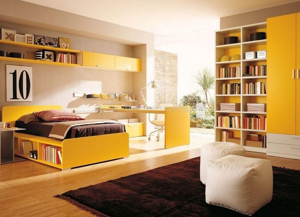 Интерьер комнаты подростка в желтых цветах