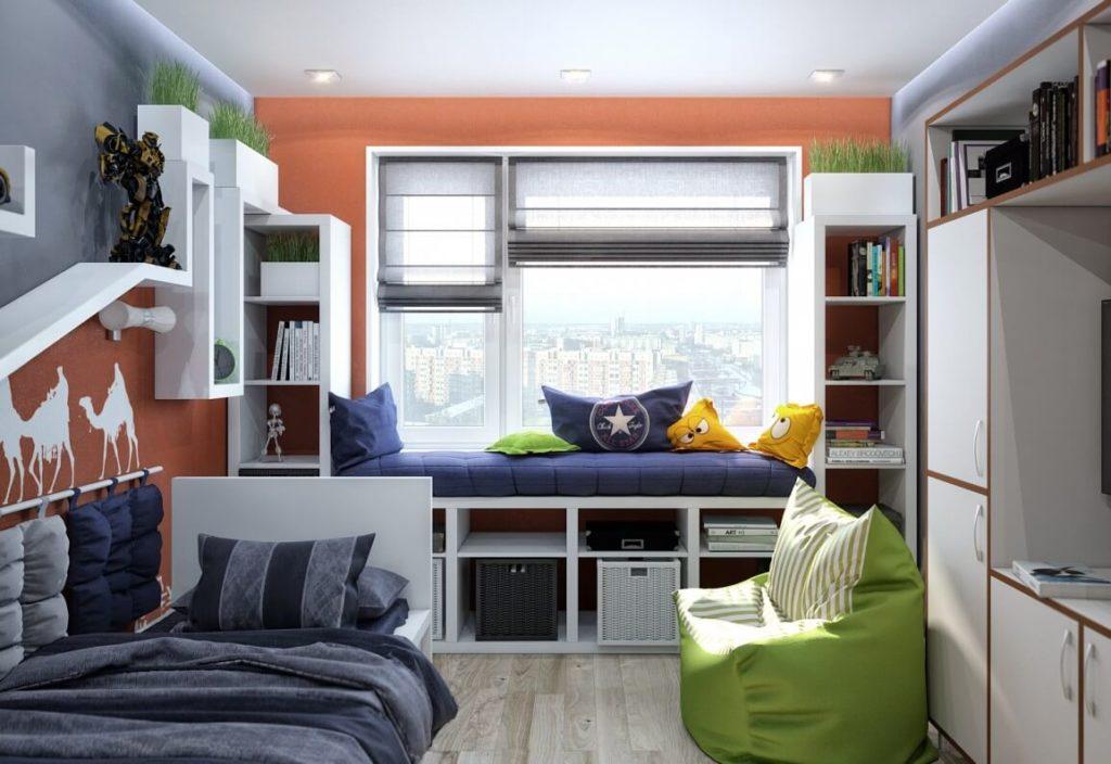 интерьер комнаты подростка мальчика со множеством шкафов