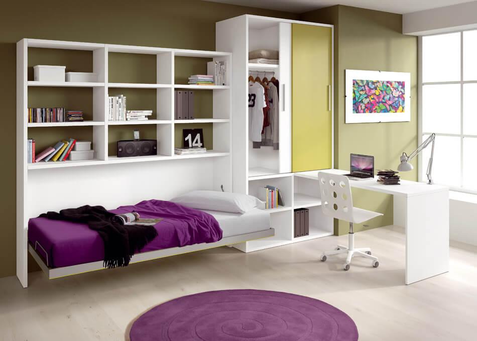 Мебельный комплекс с откидной кроватью трансформером и шкафом для одежды в интерьере комнаты подростка