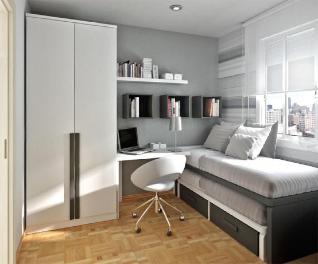 Распашной двустворчатый шкаф для подростка в интерьере комнаты