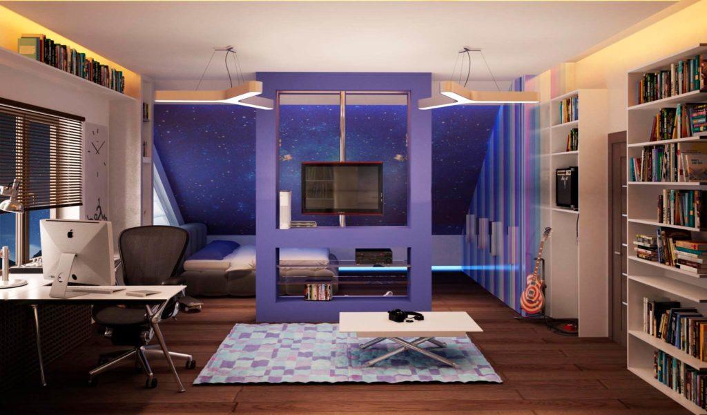 Комната подростка с книжными шкафами в интерьере