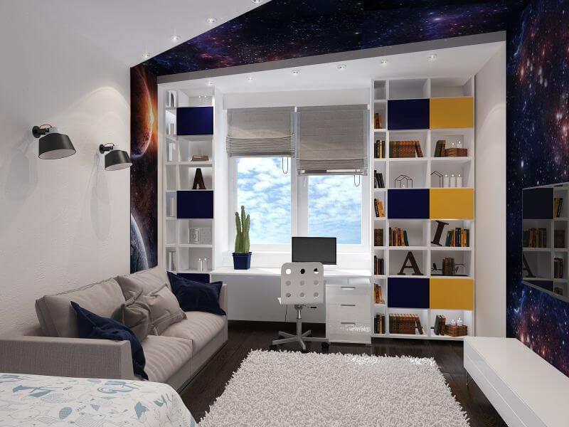 Встроенный шкаф у окна в комнате мальчика подростка