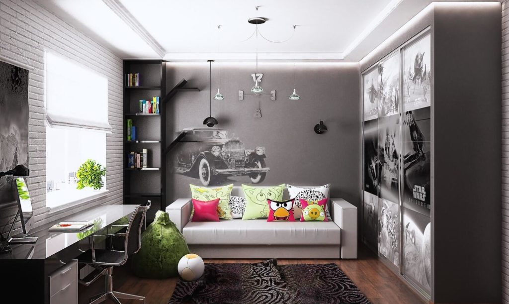 Комната подростка с трехстворчатым шкафов купе