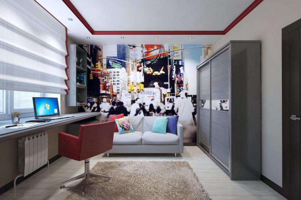 Шкаф купе в интерьере комнаты подростка