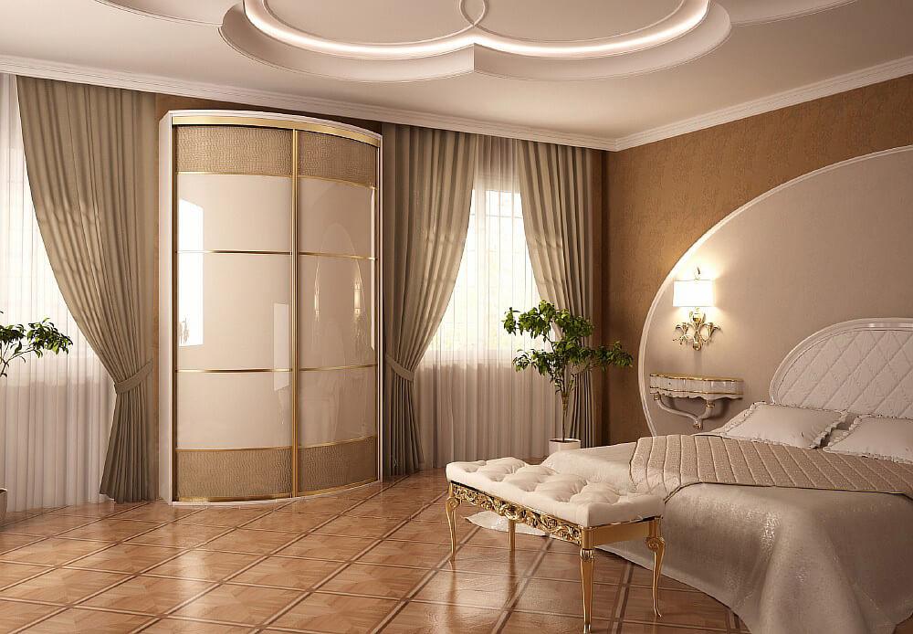 Радиусный шкаф для одежды в спальне