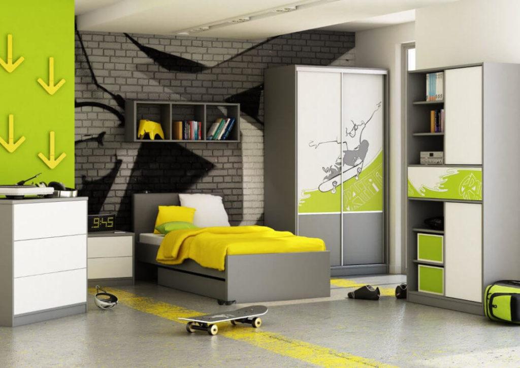 Фото интерьера комнаты подростка со шкафами