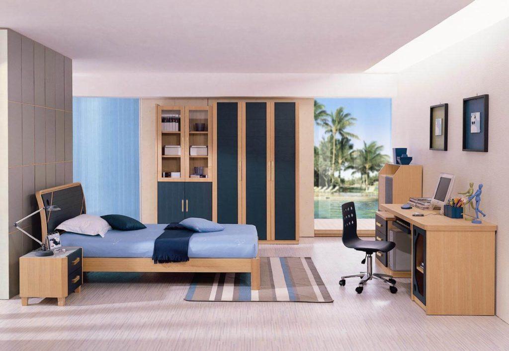 Сдержанный дизайн комнаты подростка со шкафом в интерьере
