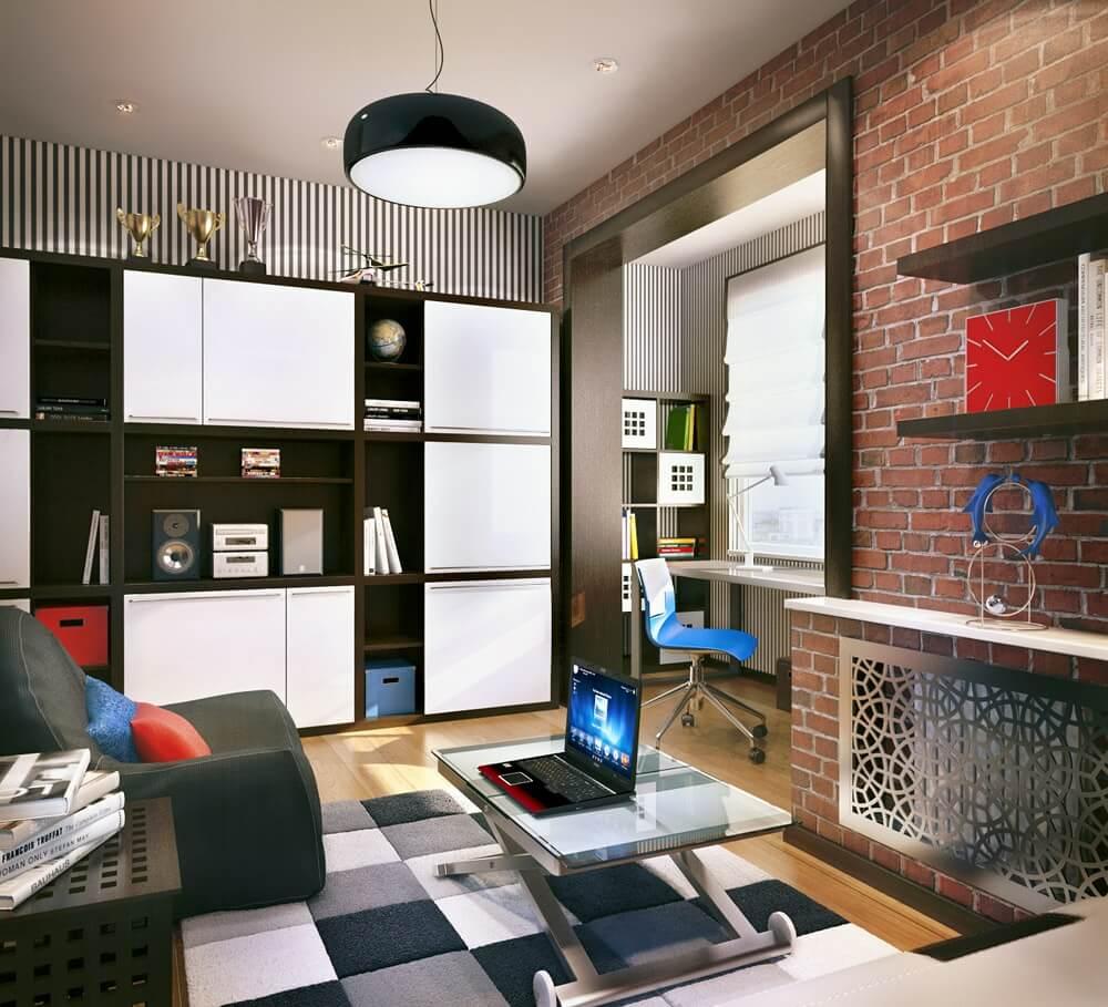 Современный дизайн комнаты подростка со шкафом