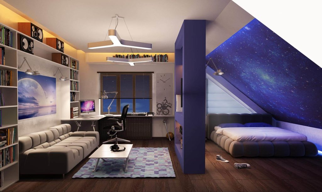 Комната подростка со встроенными шкафами