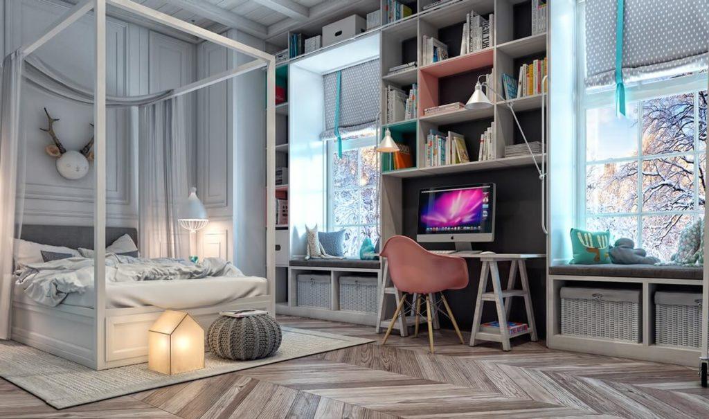 Комната подростка с встроенным шкафом с открытым фасадом