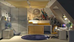Интерьер детской комнаты со шкафом купе в интерьере