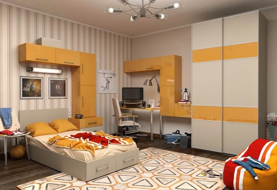 Интерьер детской комнаты со шкафом купе
