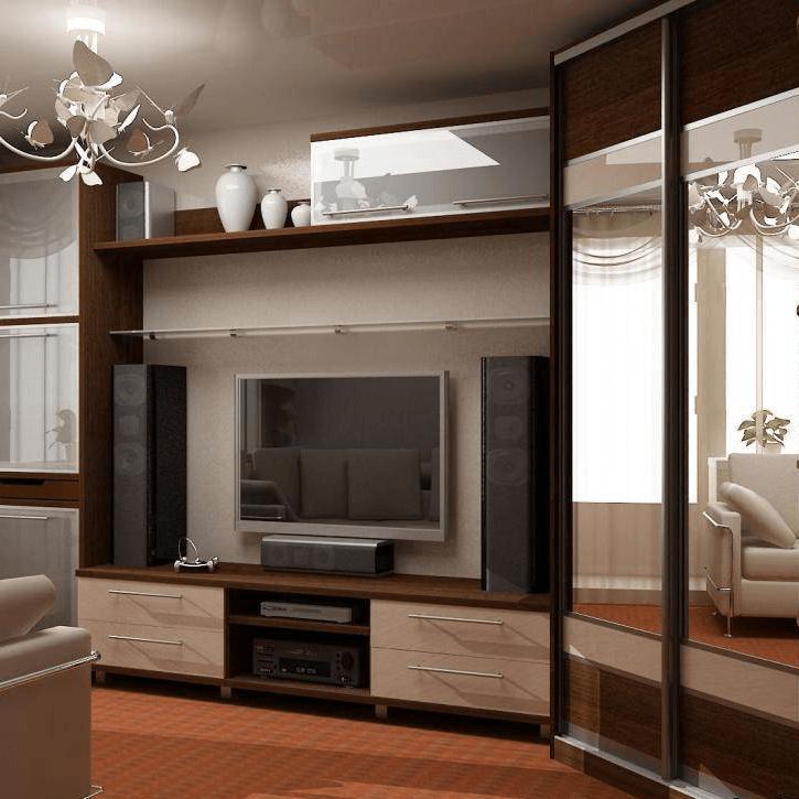 Угловой шкаф купе с зеркалами в гостиной