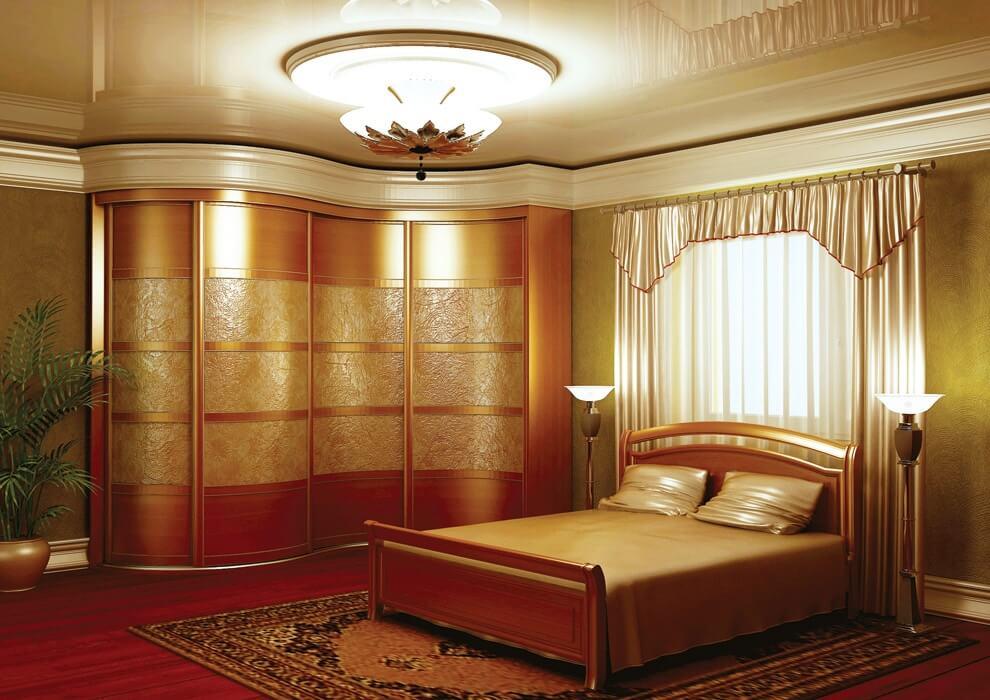 Шкаф купе в спальне с радиусным фасадом