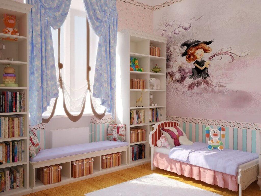 Детская комната с книжными шкафами