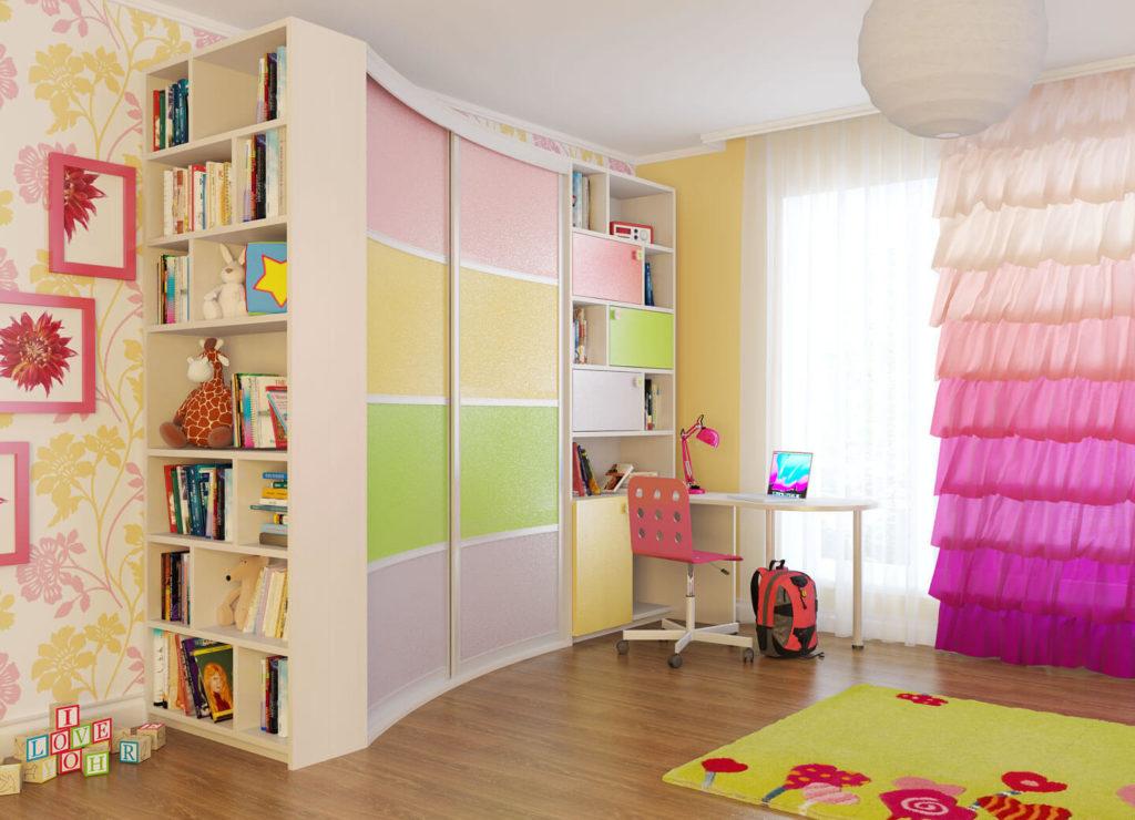 Радиусный шкаф-купе совмещенный с книжным