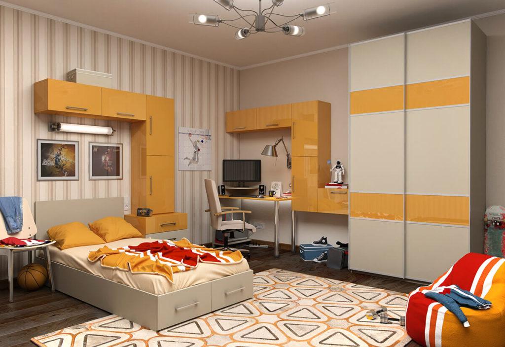 Интерьер комнаты с большим шкафом купе