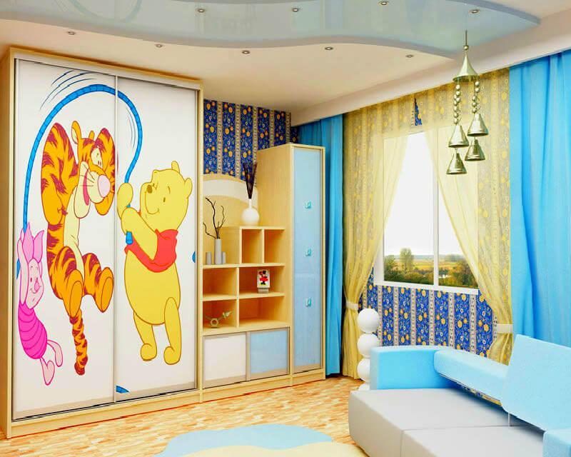 Пристенный шкаф купе в детской комнате
