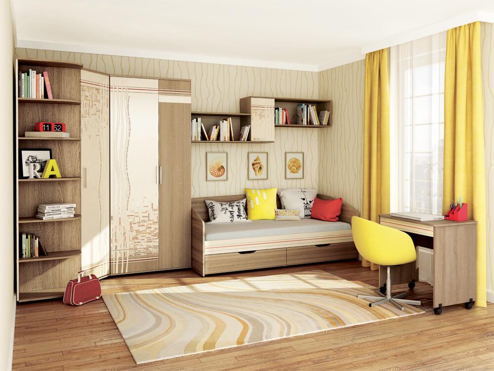 Детская комната с угловым шкафом для одежды в интерьере