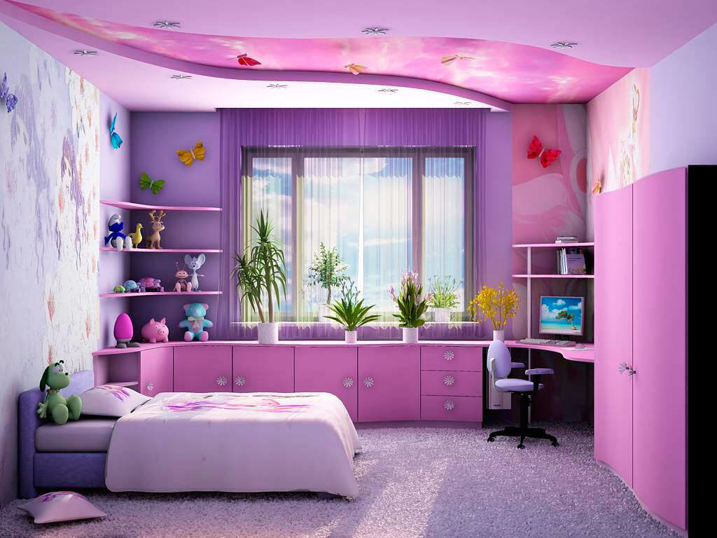 Интерьер комнаты девочки с распашным шкафом для одежды