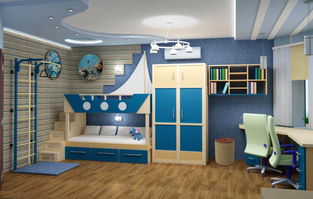 Детская комната мальчика со шкафом в интерьере