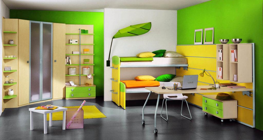 Детская комната подростка с угловым шкафом для одежды