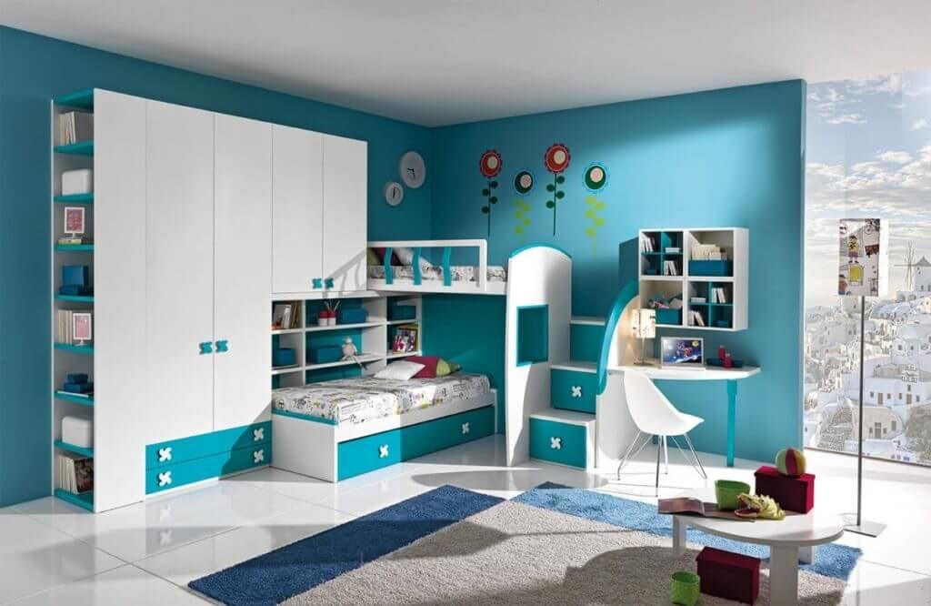 Мебельная конструкция в детскую комнату совмещающая шкаф для одежды и кровати