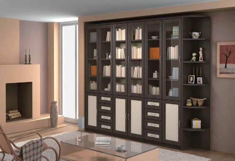 Книжный шкаф со стеклянным фасадом в гостиной
