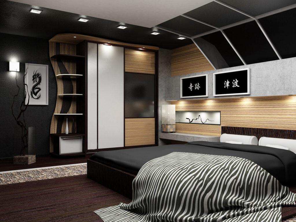 Интерьер спальной со шкафом