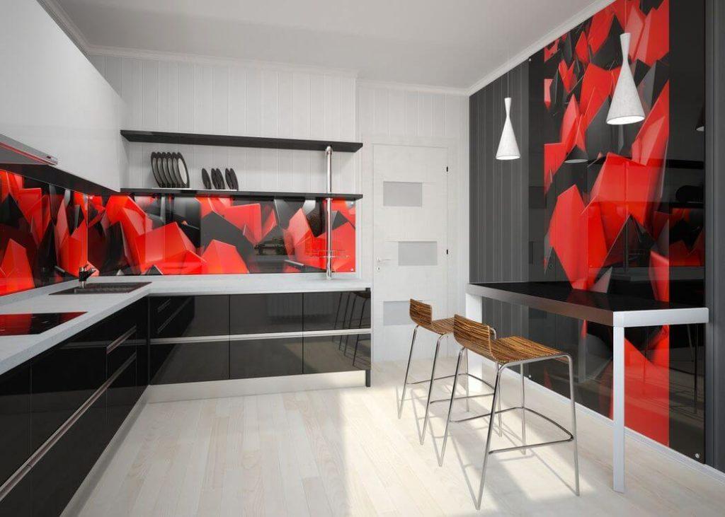 Кухонный гарнитур со стеклянным фартуком скинали