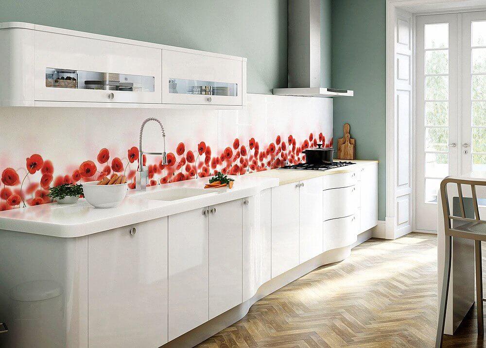 Кухонная панель скинали с рисунком - маки