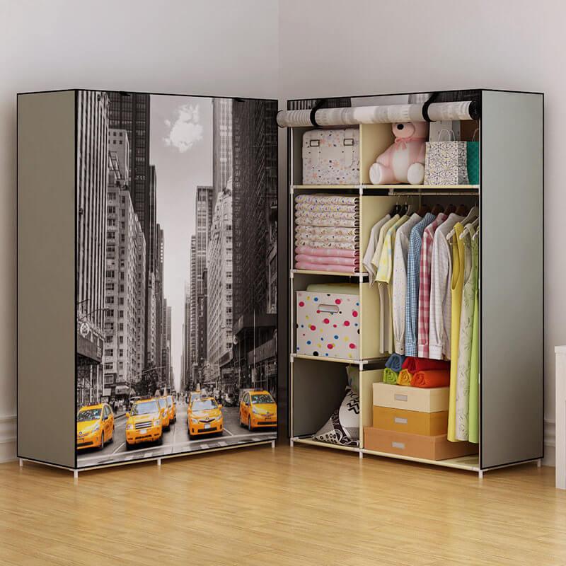 Складной шкаф с закручивающимся вверх фасадом на завязках