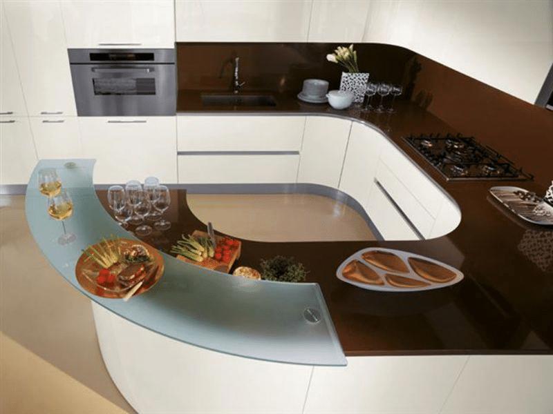 Фото кухни с полуостровной барной стойкой