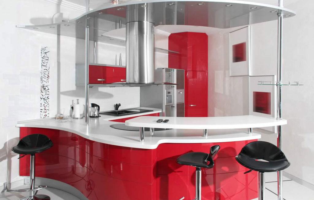 Кухонный гарнитур с барной стойкой необычной формы