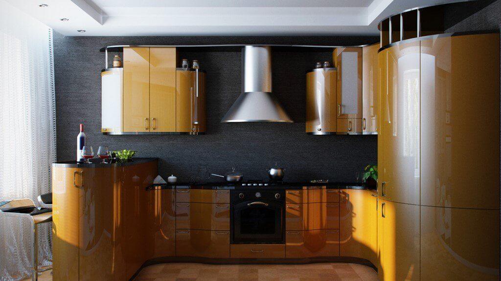 П-образная планировка кухни с угловой барной стойкой в интерьере