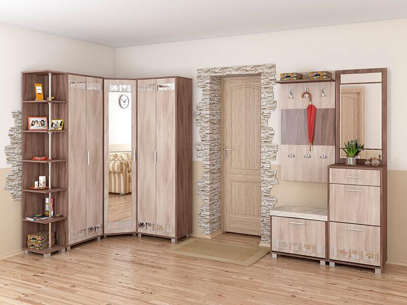 Комплект мебели для прихожей с угловым распашным шкафом с зеркалом