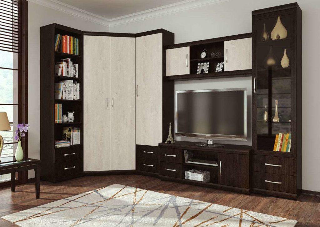 Мебель для гостиной с угловым двустворчатым распашным шкафом