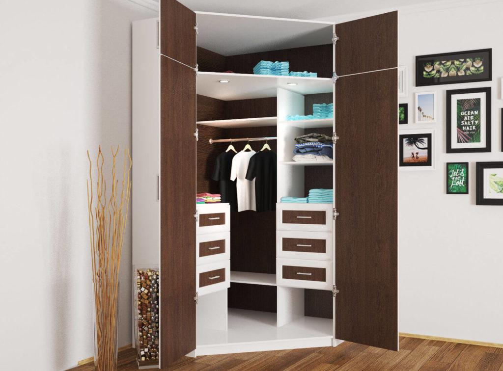 Угловой распашной шкаф для одежды